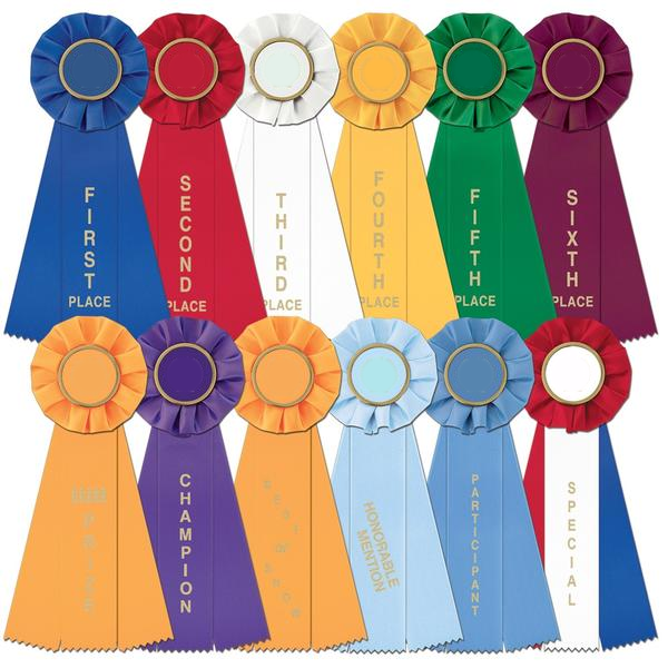 Single Custom Large Rosette Ribbon -  First thru Sixth, Honorable Mention, Best of Show