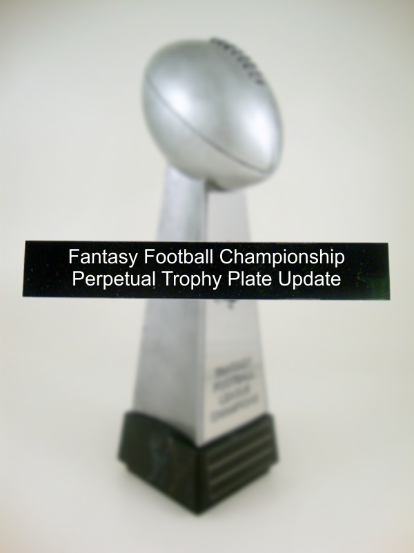 Fantasy Football Championship Perpetual Trophy Annual Update-Plate-Schoppy's Since 1921