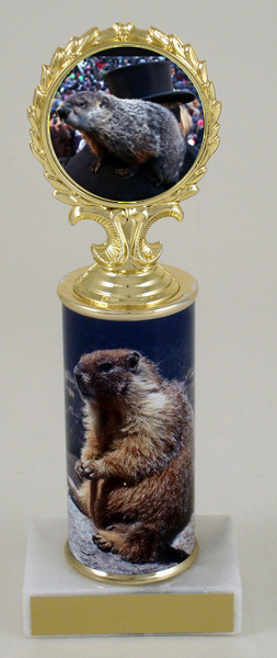 Groundhog Medallion Trophy With Column on Marble Base