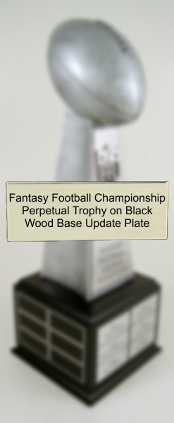 Fantasy Football Championship Perpetual Trophy on Black Wood Base Update Plate