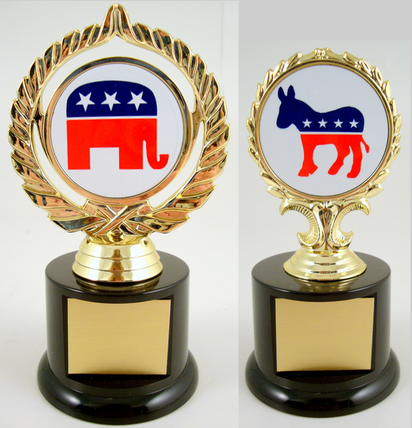 Political Animal Logo Trophy On Black Round Base