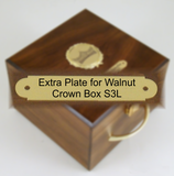 Extra Plate for Walnut Crown Box-Display Case-Schoppy's Since 1921
