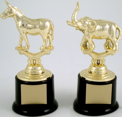 Metal Political Animal Figure Trophy On Black Round Base