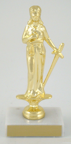 Justice Dye Cast Trophy on White Marble Base