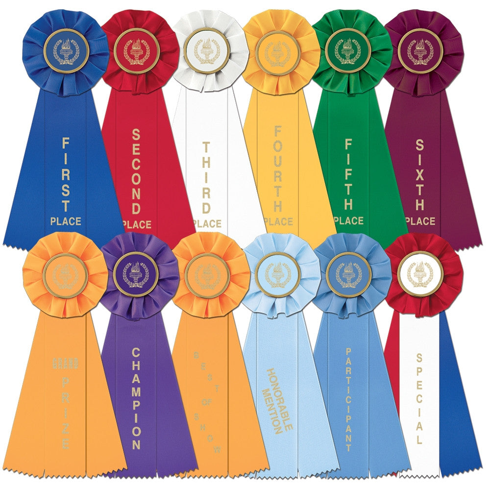 Large Rosette Ribbons -  First thru Sixth, Honorable Mention, Best of Show