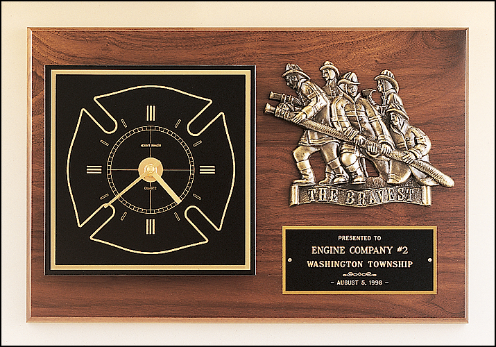 Walnut Plaque with Multiple Fireman-Plaque-Schoppy's Since 1921