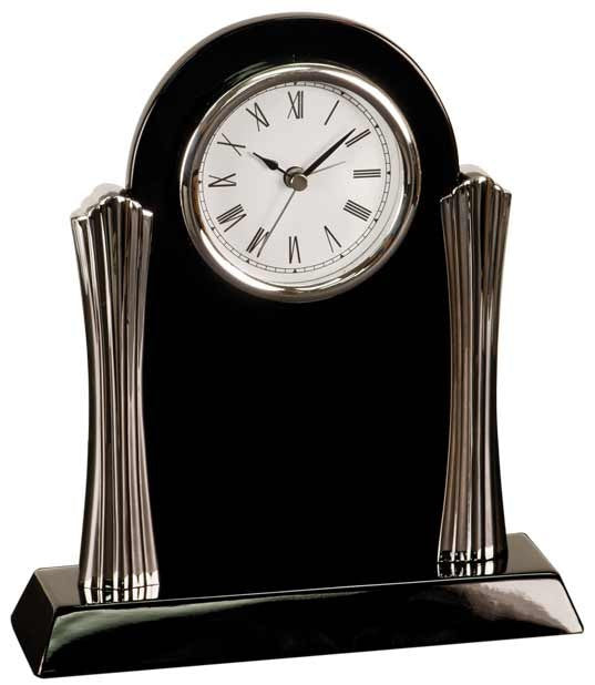 Black Piano Finish Clock with Metal Columns-Clock-Schoppy's Since 1921