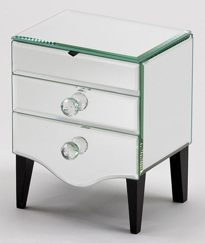 Footed Lift Top Mirror Jewelry Box