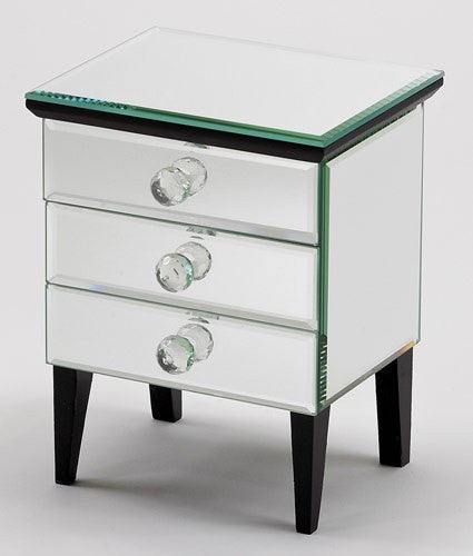 Footed Three Drawer Mirror Jewelry Box
