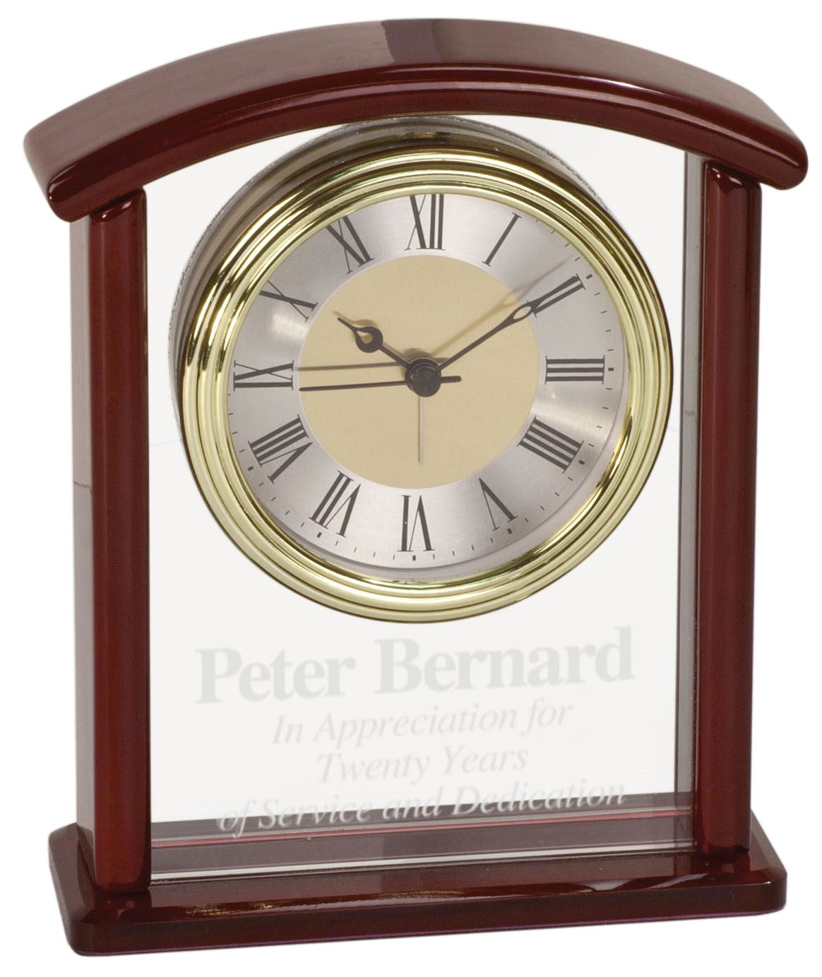 Glass and Piano Finish Arch Desk Clock-Clock-Schoppy's Since 1921