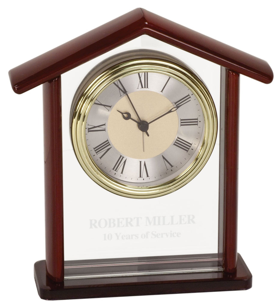 Glass and Piano Finish Steeple Desk Clock