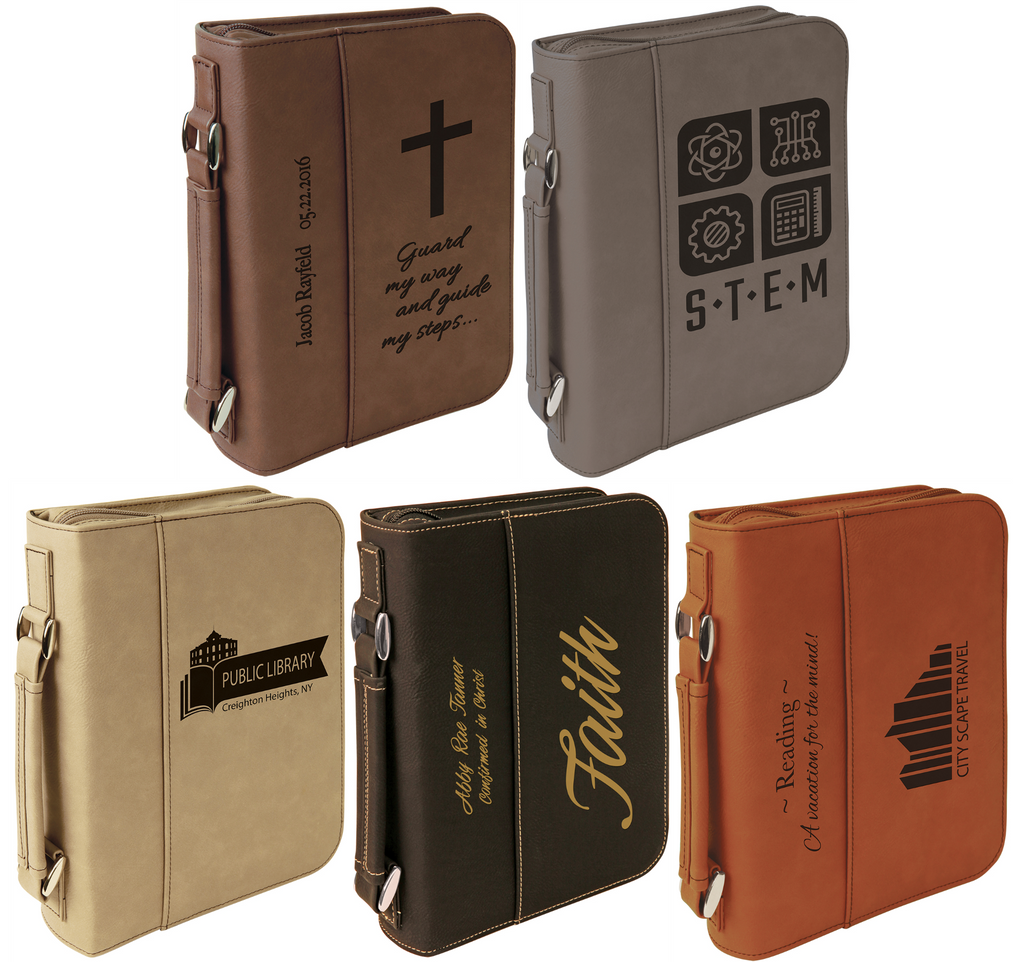 Leatherette Book or Bible Cover with Handle and Zipper