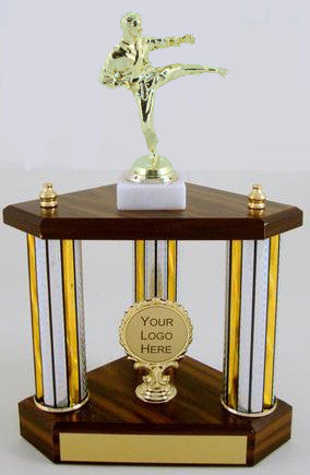Small Three Column Trophy With Jumbo Karate Figure And Logo