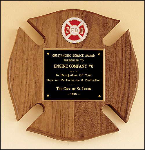 Walnut Maltese Cross Plaque with Fire Company Logo-Plaque-Schoppy's Since 1921