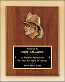 "Walnut Plaque with Fireman Profile 8"" x 10""-Plaque-Schoppy's Since 1921"
