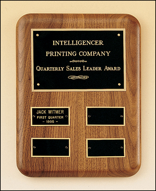 Solid American Walnut Quarterly Award Plaque With 4 Plates-Plaque-Schoppy's Since 1921