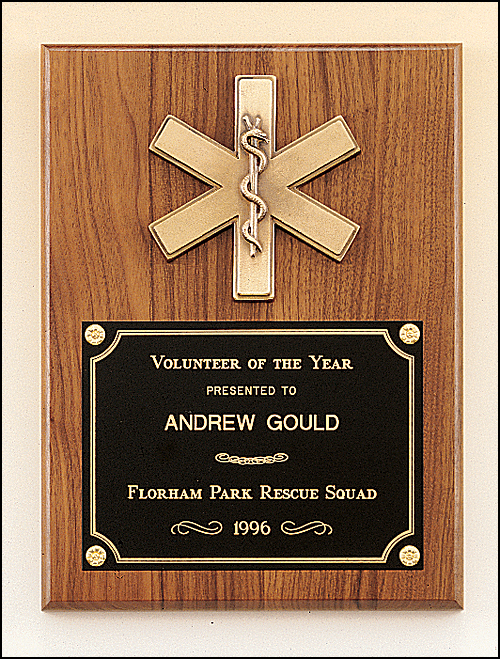 Walnut Plaque with Star of Life-Plaque-Schoppy's Since 1921