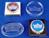 Pageant Crown Logo on Oval Crystal Paperweight-Paperweight-Schoppy's Since 1921