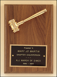 Gavel Plaque Walnut with Metal Gavel -5 x 7-Plaque-Schoppy's Since 1921