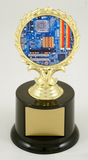 Computer Logo Trophy on Black Round Base-Trophies-Schoppy's Since 1921