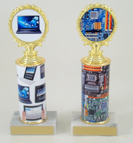 Computer Logo Trophy on Original Metal Roll Column
