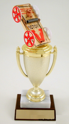 Mouse Trap Racing Cup Trophy on Marble and Wood Base