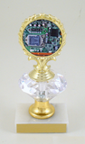 Computer Logo Trophy on Diamond Riser - Small-Trophies-Schoppy's Since 1921
