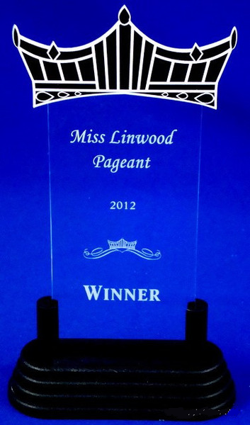 "Pageant Clear Acrylic Trophy 8.75"" Tall"