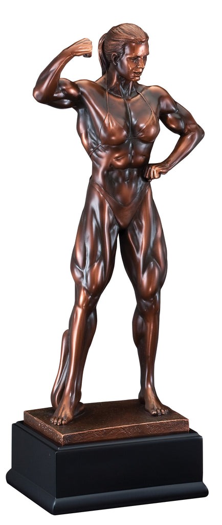 Bronze Front Double Bicep Female Pose Bodybuilding Trophy