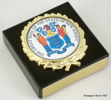 The Great Seal of New Jersey on Black Marble Paperweight-Paperweight-Schoppy's Since 1921