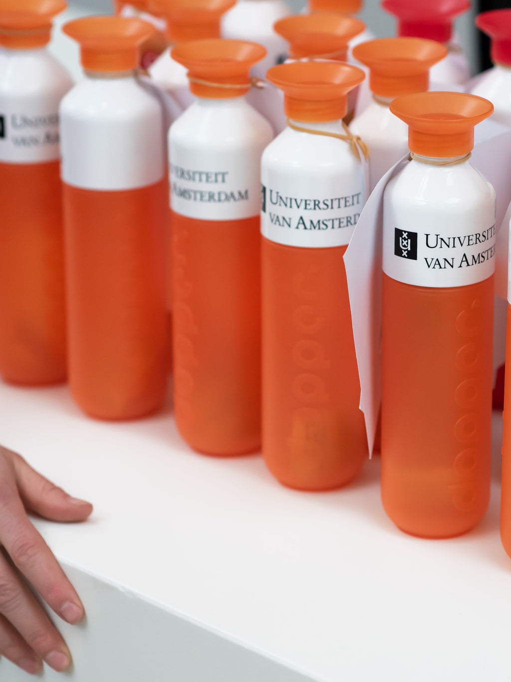 UvA University of Amsterdam reusable water bottle by Dopper in multiple colours