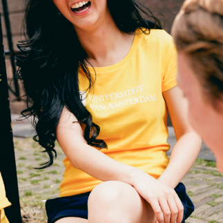 Dames UvA Universiteit van Amsterdam T-shirt in geel
