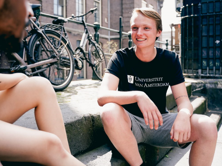 Mens UvA University of Amsterdam T-Shirt in black