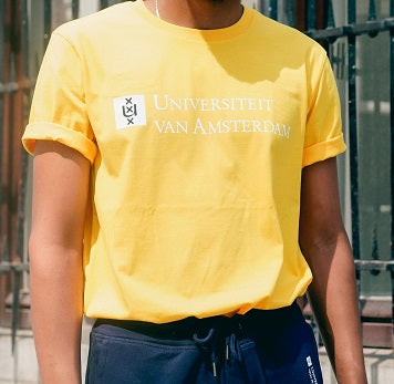 Mens UvA University of Amsterdam T-Shirt in yellow
