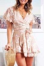 Load image into Gallery viewer, Sexy Lace V-Neck Tassel Lace-Up Short-Sleeved Dress