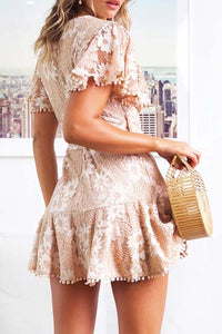 Sexy Lace V-Neck Tassel Lace-Up Short-Sleeved Dress