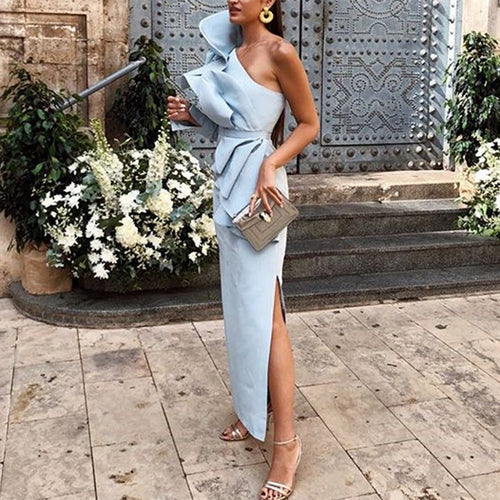 Fashion One Shoulder Belt Flouncing Bodycon Dress