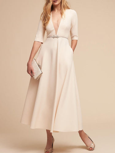 V-Neck  Plain Maxi Dress