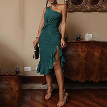 Load image into Gallery viewer, Sexy One Shoulder Irregular Ruffles Mini Bodycon Dress