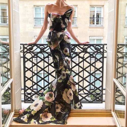 Sexy Floral Off Shoulder Bowknot Tube Evening Dress