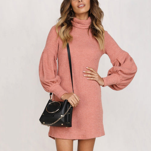 Fashion Turtleneck Sweater Puff Sleeve Casual Dress
