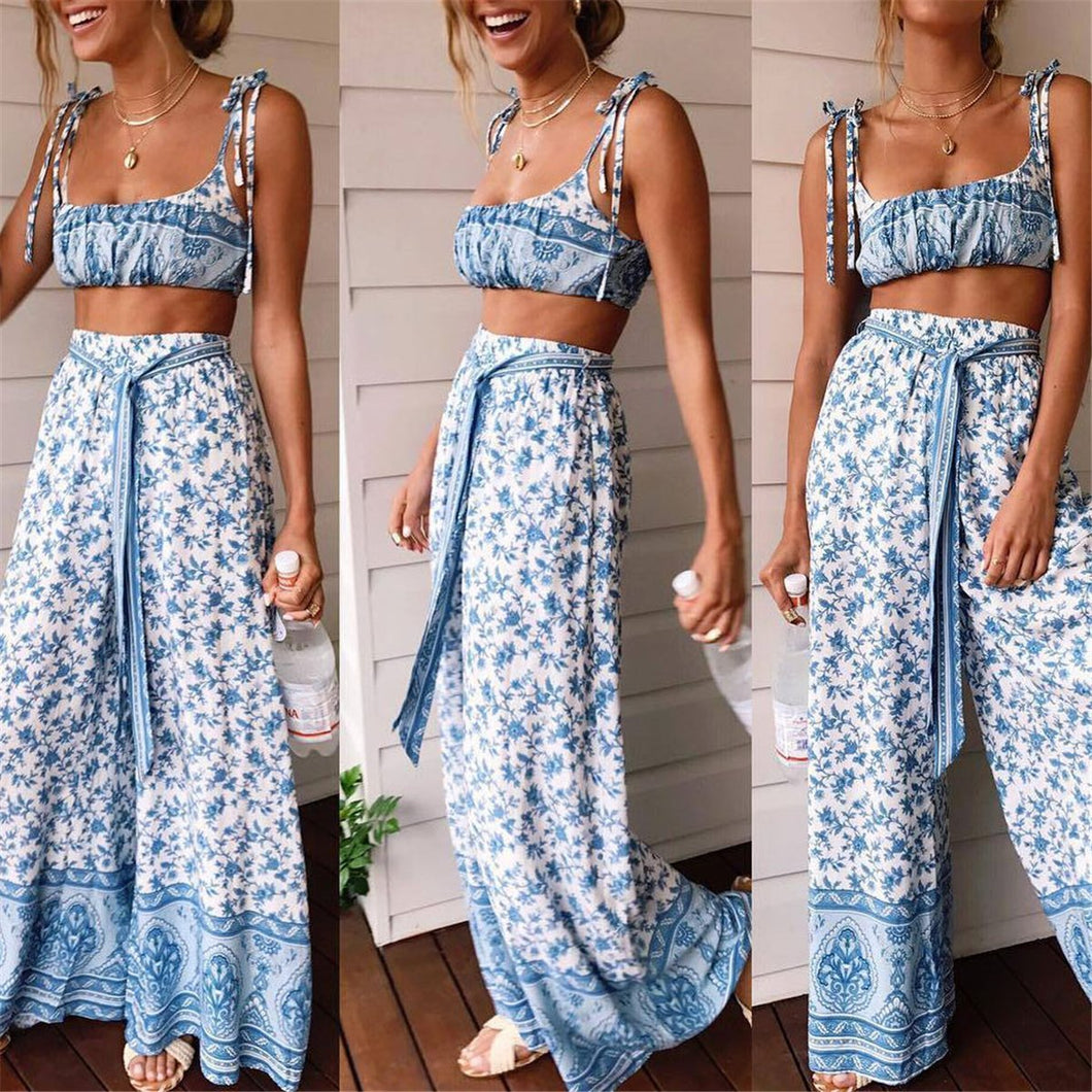 Sexy Off Shoulder Floral Printed Top And Pants Suit Jumpsuit