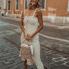 Load image into Gallery viewer, Wooden Ear Sling Pleated Polka Dot Dress