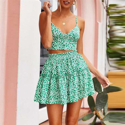 Vacation Printed Shoulder Straps Bouffant Two-Piece Dress