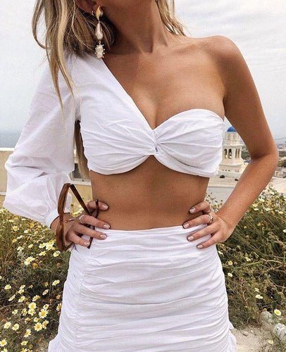 Fashion One Shoulder Sexy Wrapped Chest Top