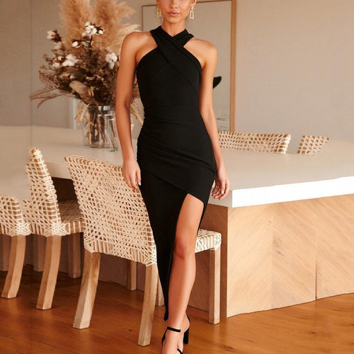 Sexy Sleeveless Halter Asymmetrical Solid Color Slim Dress