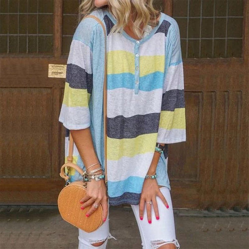 Round Neck Halflong Sleeve Loose Striped T-Shirt