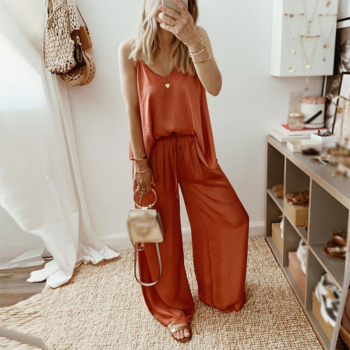 Casual Sling Pure Color V Neck Jumpsuit