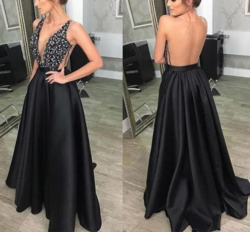 Sexy V-Neck Sleeveless Backless Evening Dress