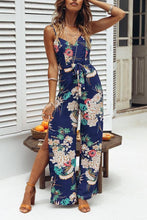Load image into Gallery viewer, Sexy Blue Floral Print Sleeveless Jumpsuit